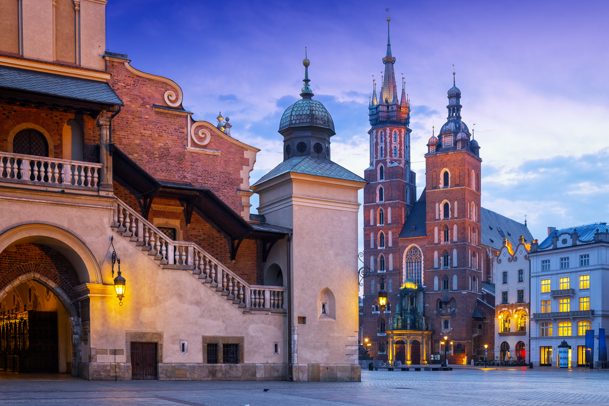 Renaissance Cloth Hall Sukiennice and Church Assumption of the Blessed Virgin Mary on the Main Market Square, Krakow, Poland